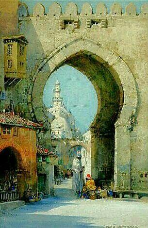 Algérie - Peintre Britannique,Noel Harry Leaver (1889 - 1951),Aquarelle, Titre: Une passerelle Mauresque en Algérie.