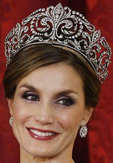 Tiara Mania: Queen Victoria Eugenie of Spain's Fleur de Lys Tiara worn by Queen Letizia of Spain.