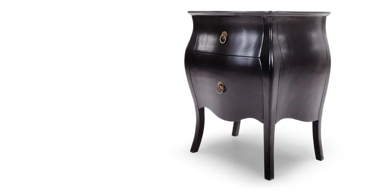 Bourbon Bedside Table, Black