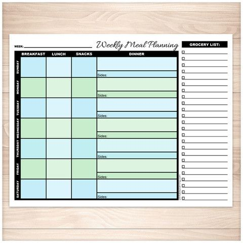 Blue & Green Weekly Meal Planning Page with Grocery List - Printable Planning
