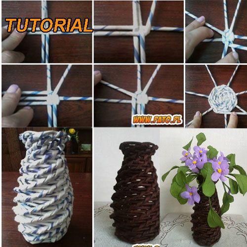 handmade vaza flori din hartie Handmade vaza flori violete din hartie   Tutorial