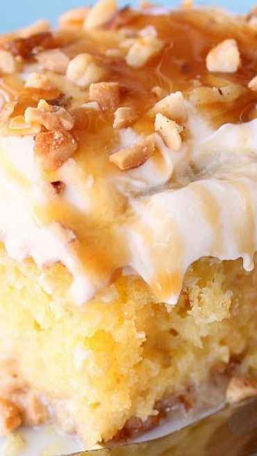 Caramel Banana Nut Poke Cake Recipe ~ So moist, gooey and delicious
