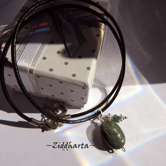 Dark Green Gem Stone Necklace Green Kambama Jasper Necklace Halskette Kragen Halsband Gem Stone Necklace - Jewelry Handmade by Ziddharta by Ziddharta on Etsy
