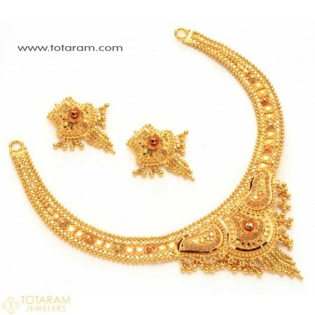 22k Gold Necklace Sets Indian Bridal Jewelry Indian Gold