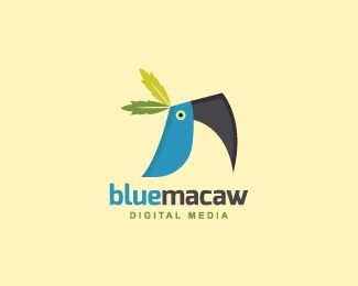 Blue Macaw is a logo in the shape of a blue macaw composed of abstract forms and two tree leaves over the head with the colors green, blue and black.( logo for sale, media, macaw, blue, bird, animal, digital media, leaf, app, Leafs, digital, pet shop, pet, entertainment, logo design).