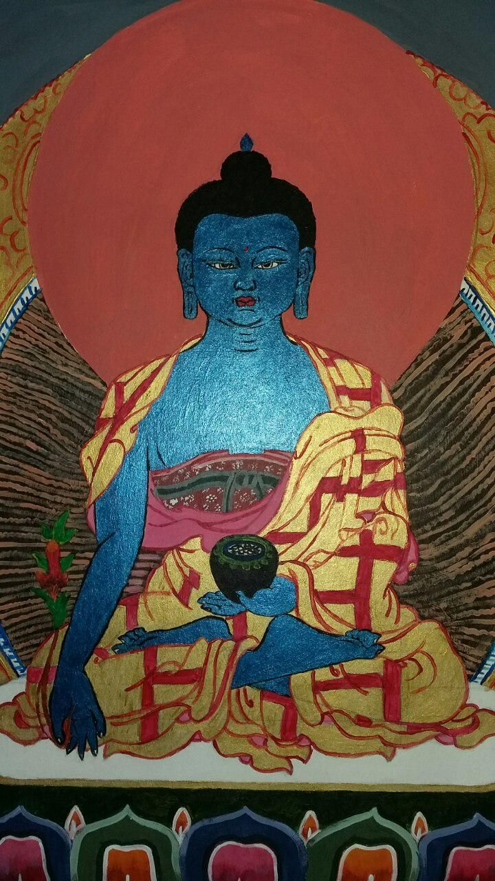 Medicine Buddha; acrylic