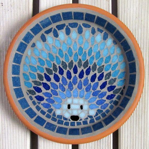 Moonlight Hedgehog mozaïek tuin Yard vogel Water Bad door JoSaraUK