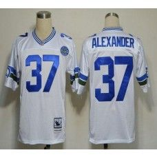 Mitchell And Ness Seahawks #37 Shaun Alexander White Stitched Throwback NFL Jersey