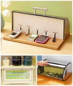 Repurposed furniture - bread bin chargers. This would be great once the kids start getting their own electronic devices