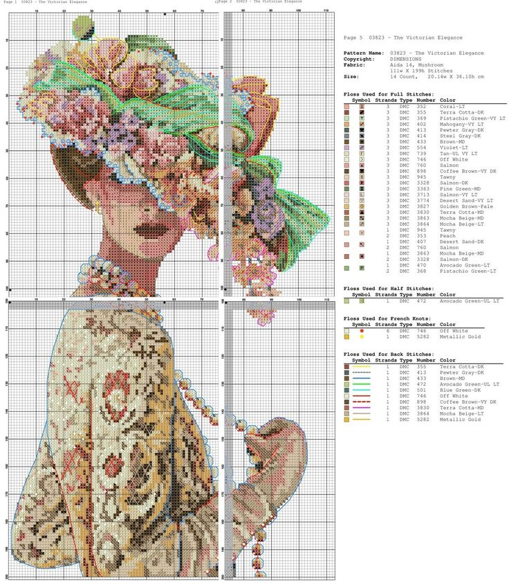 point de croix femme victorienne en dentelle - cross stitch victorian lady in lace part 2