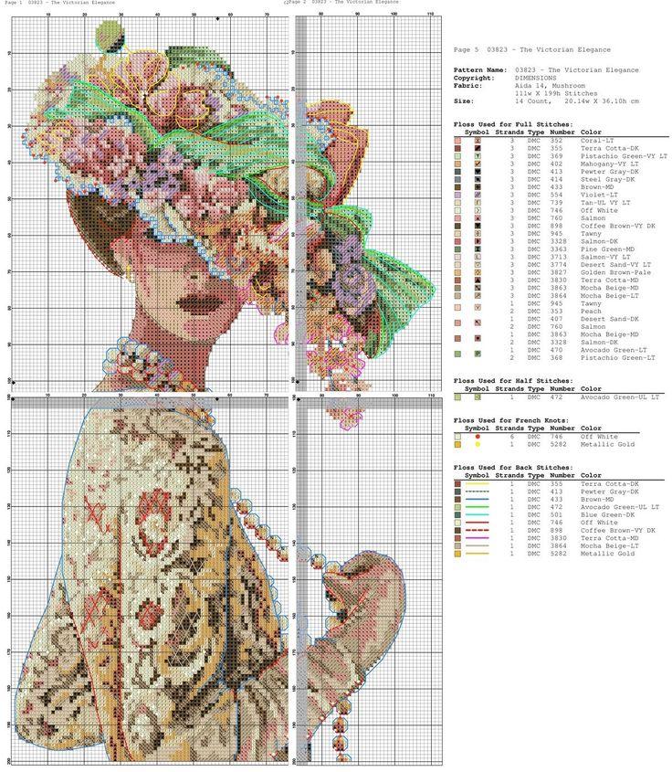 point de croix femme victorienne en dentelle - cross stitch victorian lady in lace part 2