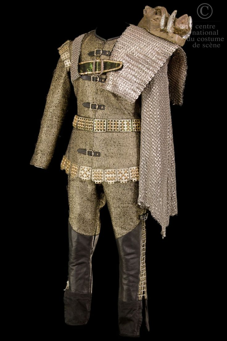 Abd'elkader Farrah, costume for Richard, gold lamé, black leather, steel maille, from Shakespeare's 'Richard III', Terry Hands, 1972
