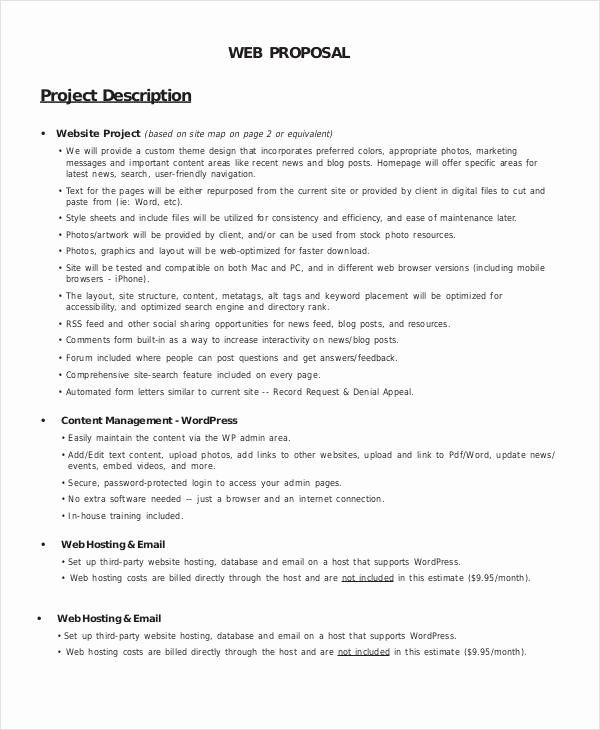 20 Website Proposal Template Doc In 2020 Web Design Proposal