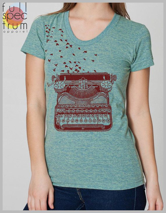 Freedom of Speech Women's  T Shirt  Vintage Typewriter with Birds  American Apparel Tee S, M, L, XL  8 COLORS on Etsy, $22.00