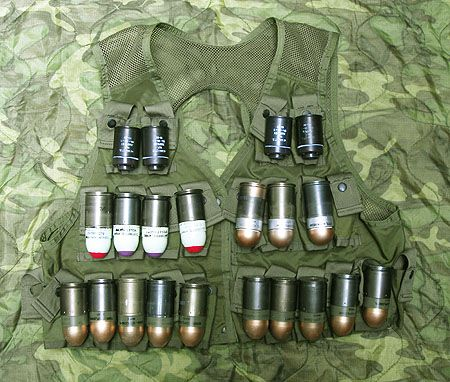Vest full of ammunition for the M79 Grenade Launcher.  This is the type of vest I had in Vietnam for my launcher; RB