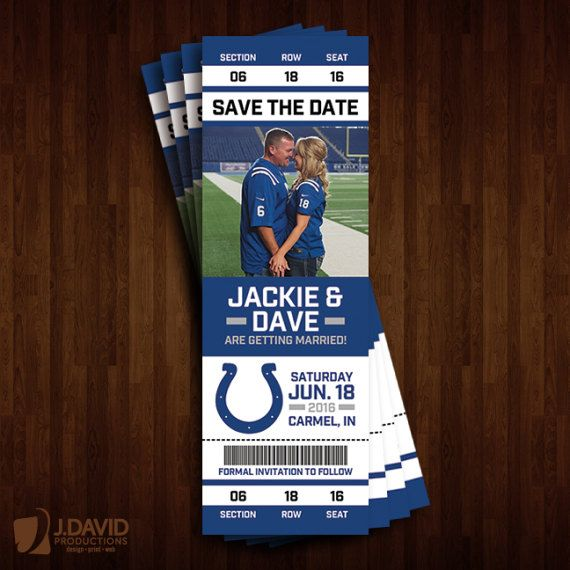 Indianapolis Colts Save the Date Ticket by JDavidProductions