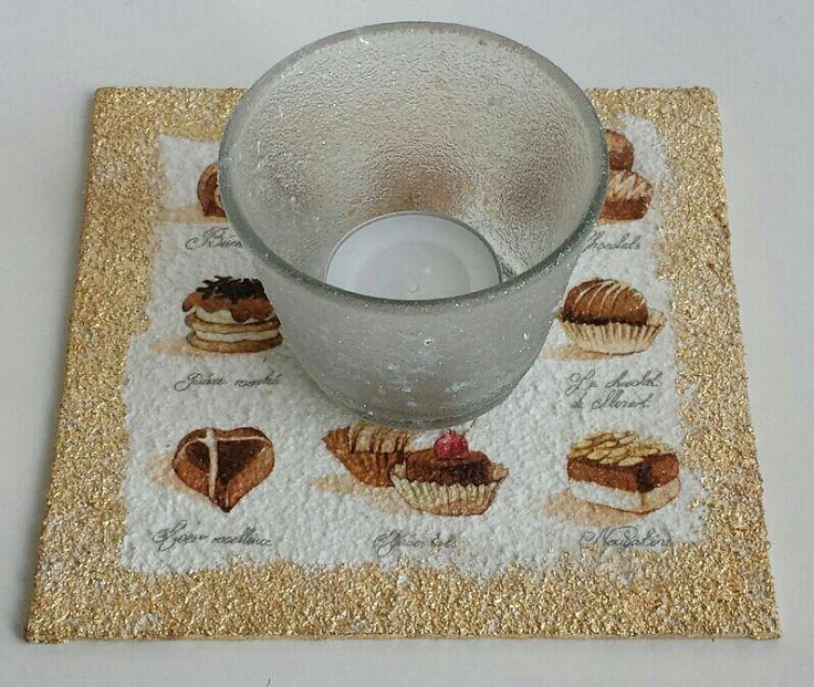 Praline, Serviette, IndigoBlu Megaflakes,  Canvas, Malpappe, Teelicht
