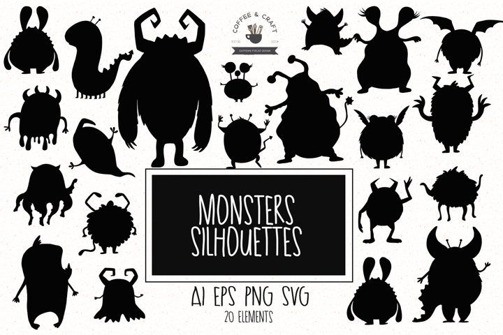 Monsters Silhouettes Monster Silhouette Silhouette Vector