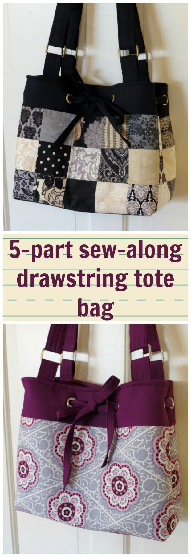Full 5-part sew-along tutorial for how to make this drawstring purse.  Can be made in patchwork too - instructions to that option as well.  I learned lots of new bag skills and got a great bag at the end - great sew-along.