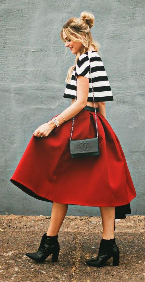 crop top and midi skirt. FUN