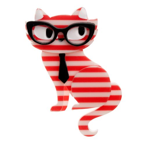 Limited edition, original Erstwilder Elissa Indie Cat brooch in red. Designed by Louisa Camille Melbourne. Buy now