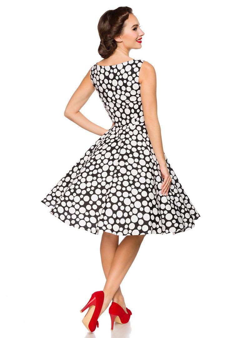Belsira 50er Jahre Rockabilly Petticoat Kleid Polka Dots