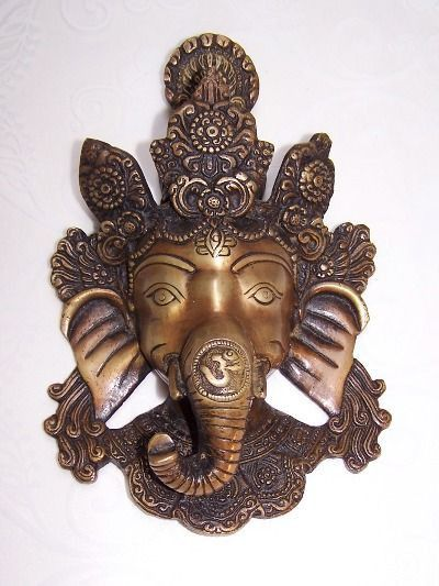 Ganesha mask bronze 8 inches