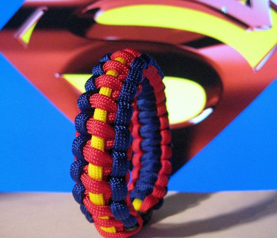Superman Inspired Survival Strap Paracord Bracelet Custom Sized Wristband. via Etsy.