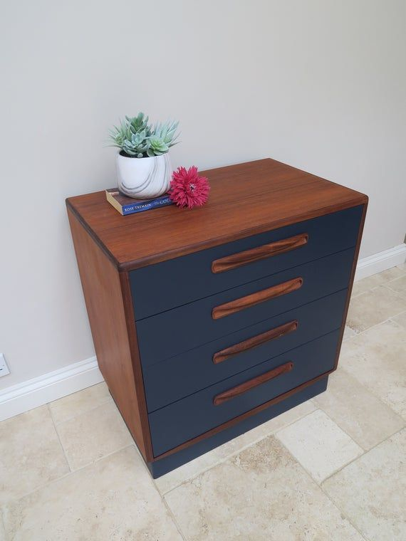 Navy G Plan Fresco Chest Of Drawers In 2020 Wooden File