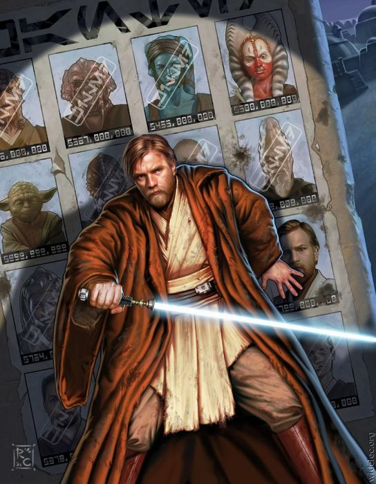 """Obi Wan Kenobi. FYI: the stamped things on the other pictures behind him say """" Killed"""" in Star Wars basic."""