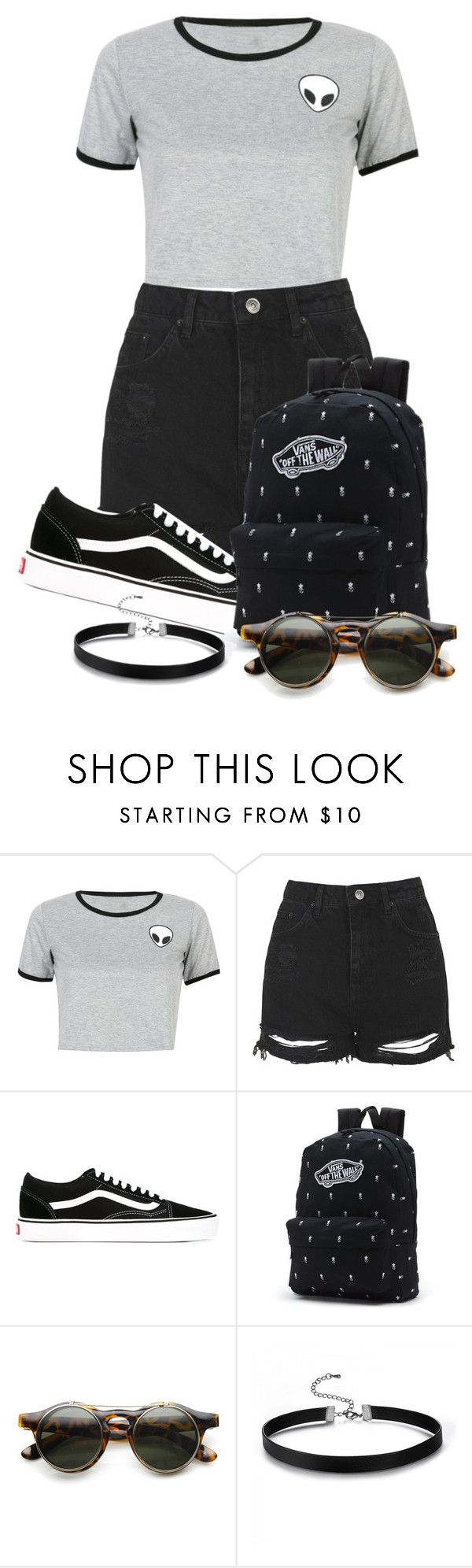 """""""Story"""" by tigerlily789 ❤ liked on Polyvore featuring WithChic, Topshop, Vans and ZeroUV"""