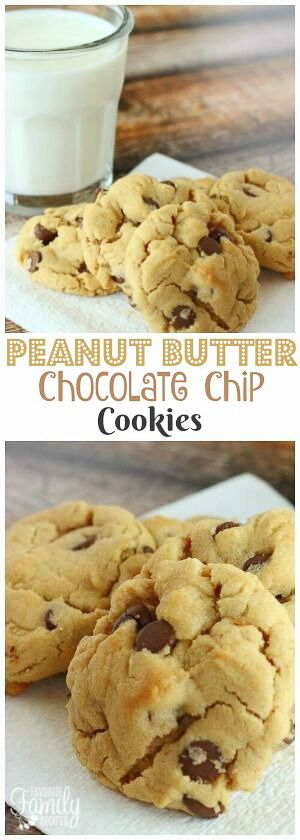 Peanut Butter Chocolate Chip Cookies are a combination of chocolate chip cookies and peanut butter cookies. Two amazing cookies made into one! via @favfamilyrecipz