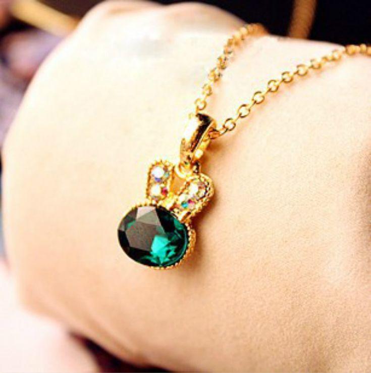 Korea Hot Gold Imitation Emerald Pendant Lovely Full Diamond Chain Necklace Wholesale Female Rabbit Clavicle