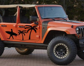 Beach Surfing Surfer Palm Tree Jeep Wrangler Rubicon Car