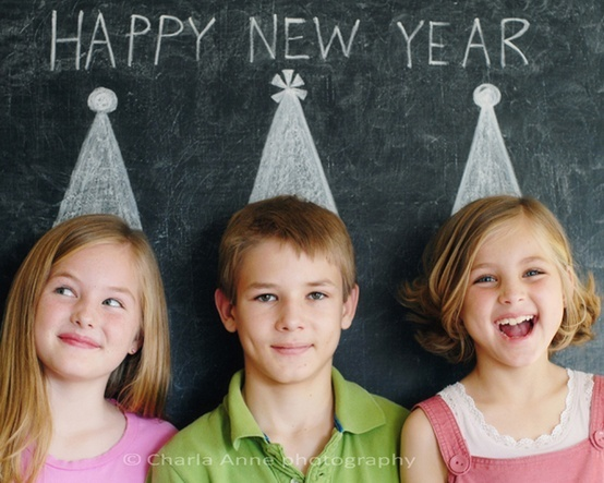 Cute idea for the first day back to school after the new year or a family New Year card (instead of a Christmas card).