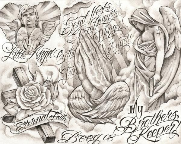 chicano tattoo drawings | chicano style flashes - Dragon-Tattoo Hamburg