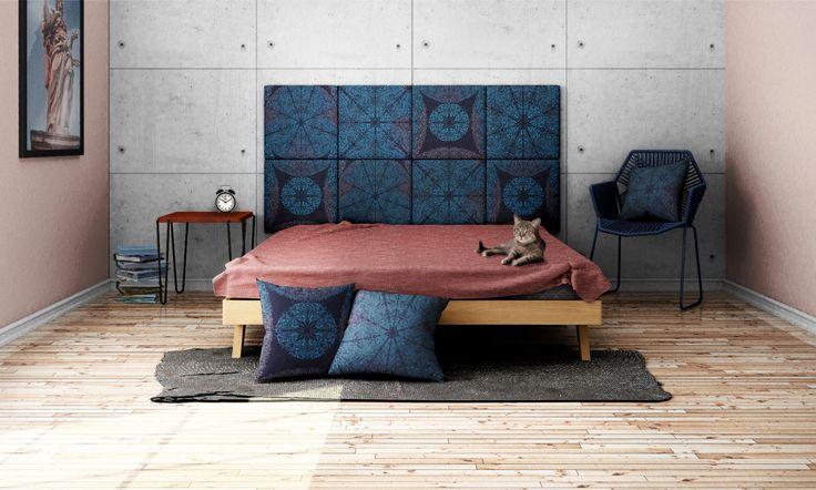 Headboard - upholstered modular wall panels PATTERN No. 1002 Blue Mandala by DesignPolski on Etsy