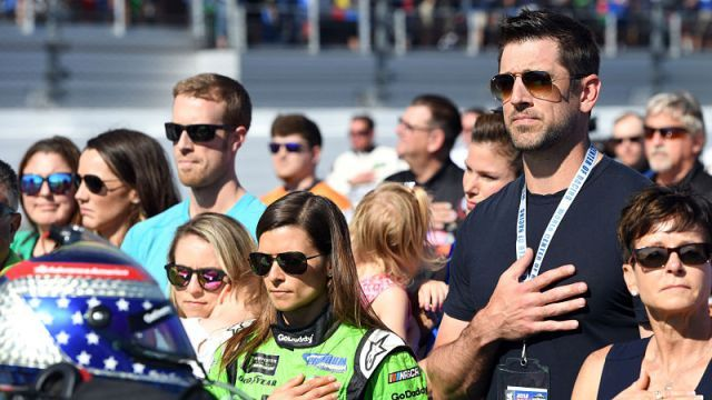 photos of aaron rodgers and danica patrick at daytona | Danica Patrick, Aaron Rodgers Share Pre-Race Kiss At Daytona 500 | NESN Fuel | NESN.com