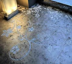 etched cement floor by Transparent House Studio. Want wood floors but I do want cement countertops!