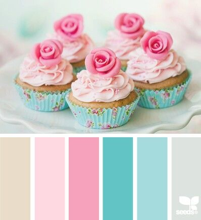 """Sweet color combo.. one of my faves. Love the pattern on the cupcake tins as well. Reminds me of the """"Savannah"""" bedding from Pottery Barn Kids that I adore."""