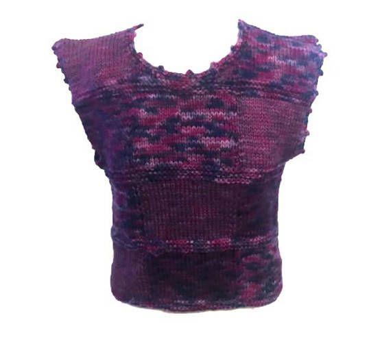 Woman Vest Pullover Boho Round Neck Hand Knit Ombre Purple