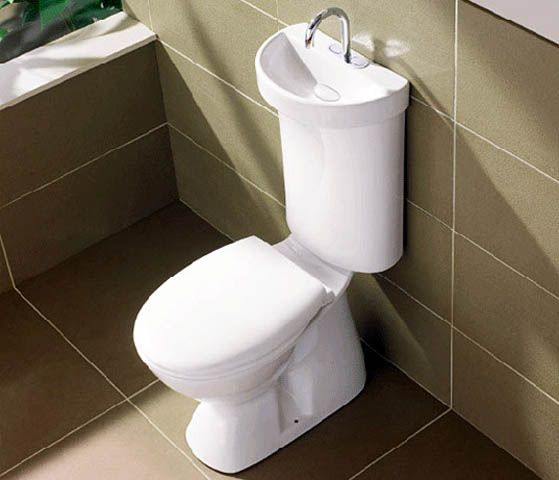 SMALL SPACES - Workshop / garage ? DUAL flush toilet / sink......high-efficiency system that recycles waste sink water for its flushing rinse. Once flushed, fresh cold water is piped to the sink for rinsing, while the sink drains into the back of the commode.