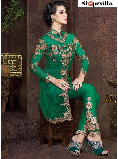 A Modern Look Pant Style Green Suit-4805-CC