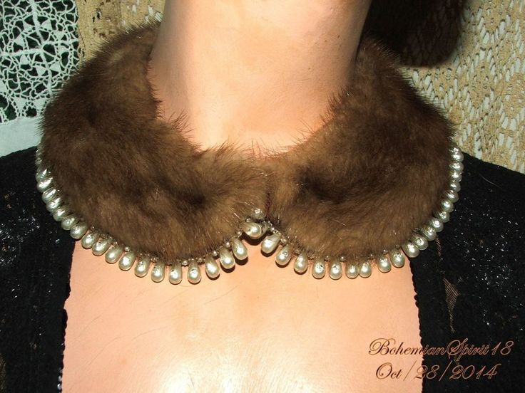 VINTAGE GORGEOUS NATURAL BROWN MINK FUR TEAR DROP PEARLS RHINESTONE COLLAR