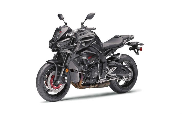 Lataa kuva Yamaha FZ-10, 2017, Musta moottoripyörät, viileä pyörä, Japanilaiset moottoripyörät, Yamaha