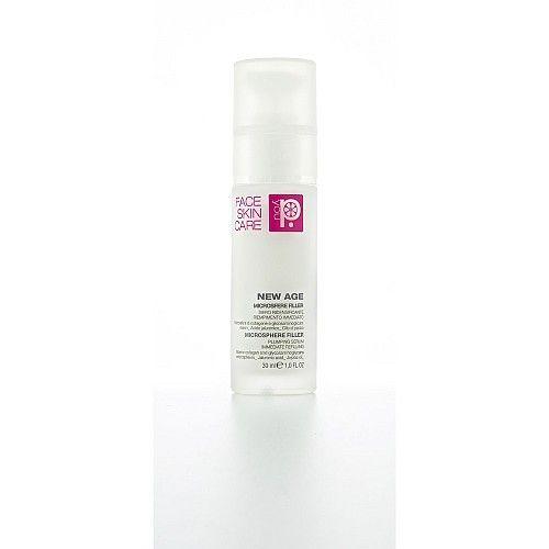 NEW AGE MICROSFERE FILLER è un siero impalpabile e confortevole che si fonde sulla pelle e viene immediatamente assorbito regalando un aspetto turgido e levigato. Riempie ed appaia i solchi di rughe e segni di espressione con un effetto visibile immediato e giorno dopo giorno sempre più percettibile. La presenza di acido ialuronico e olio di jojoba assicura alla pelle comfort e idratazione. Ideale come base per il trucco, dona al maquillage una tenuta eccezionale.