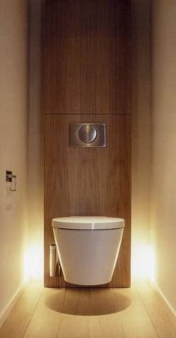 simple stylish wood column WC with light effect