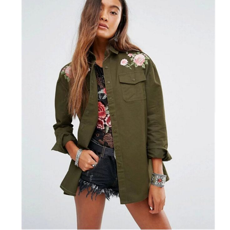 Boyfriend Style Army Green Flower Embroidery Shirt Lapel Long sleeve Pockets Blouse Tops Coat blusas chemise femme blusa Buy now for $ 31.46 & get FREE Shipping worldwide    #f4f #tbt #followme #like4like #shopping #fashion #style #shoppingaddict #followme #musthave #ootd #fashionmodel