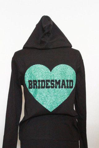 Bridesmaid - Black Hoodie - Lightweight cotton zip up sweatshirt for Bridesmaid