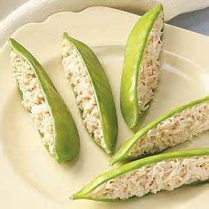 Chicken salad in pea pods. Cute idea for a brunch or shower!.